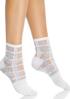 HUE Sheer Plaid Ankle Socks