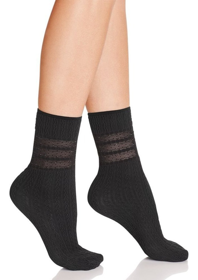 HUE Sheer Stripe Cable Anklet Socks