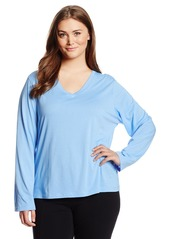 HUE Sleepwear Women's Plus Size Basic Longsleeve Vneck Sleepshirt