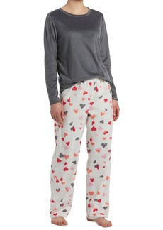 Hue Sueded Fleece Top & Printed Pants Pajama Set, Online Only