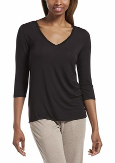 HUE Women's 3/4 Sleeve V-Neck Sleep Tee
