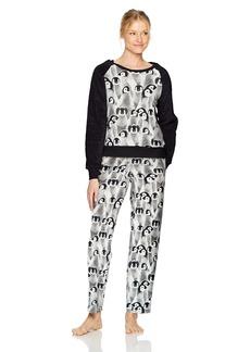 HUE Women's Animal Collage Furry Sleeve Brushed Fleece Pajama Set Black-Pingu