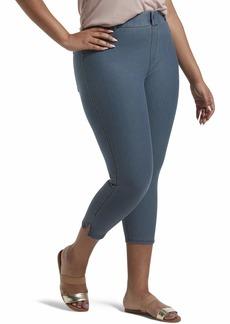 HUE Women's Plus Size Ankle Slit Essential Denim Capri Legging