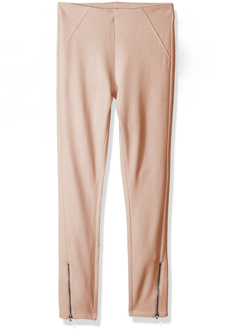 HUE Women's Ankle Zip Simply Stretch Twill Skimmer Leggings Evening Sand M