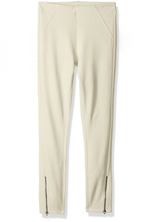 HUE Women's Ankle Zip Simply Stretch Twill Skimmer Leggings Sandbar XS