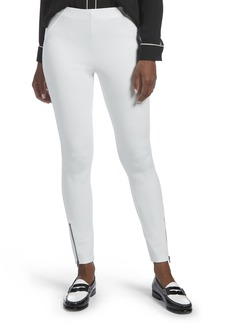 HUE Women's Ankle Zip Simply Stretch Twill Skimmer Leggings White XS