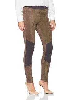 HUE Women's Blocked Microsuede Leggings  Extra Small