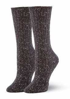 HUE Women's Casual Crew Boot Sock black - tweed