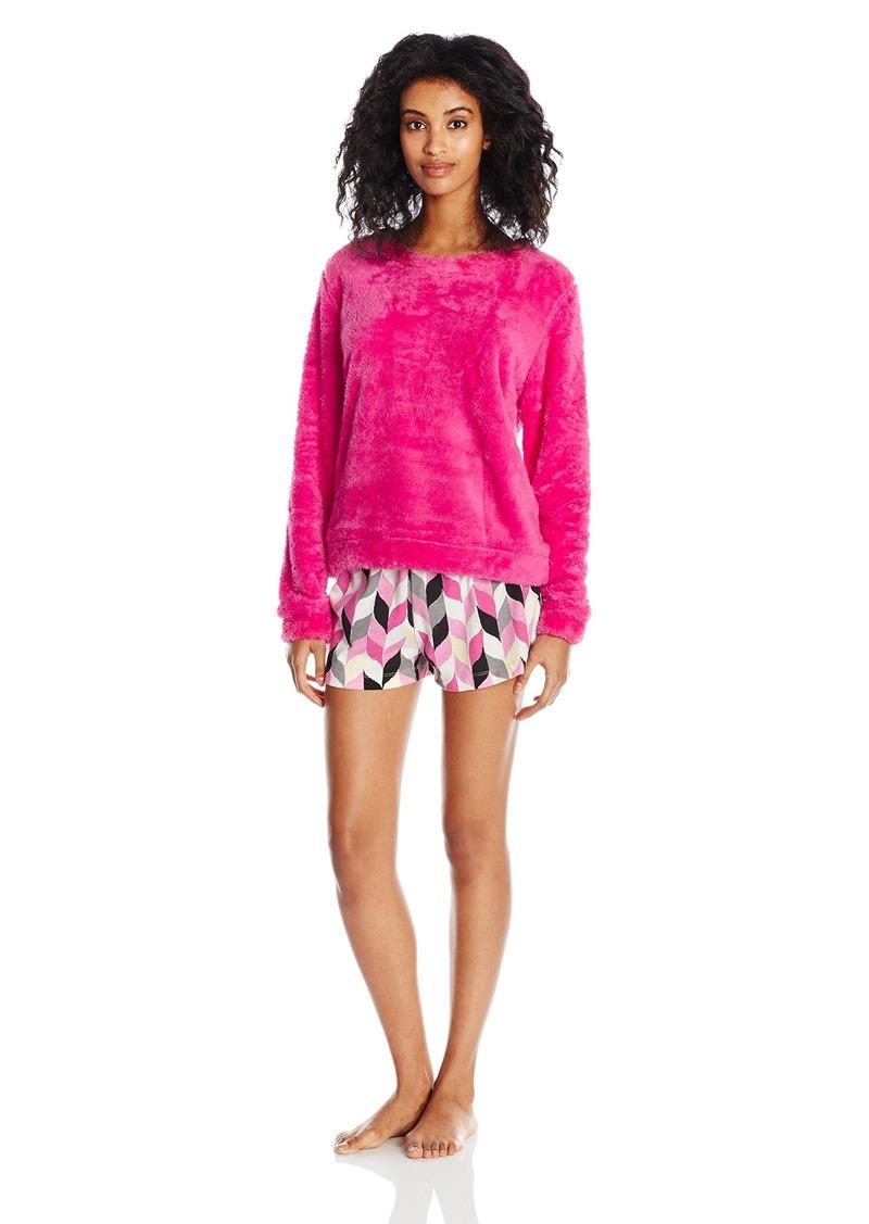 HUE Women's Chevbone Fleece Shirt and Boxer Pajama Set