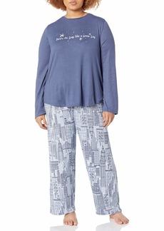 HUE Women's Cozy Long Sleeve Top and Pant 2 Piece Pajama Set Vintage Indigo - Snowfall in The City