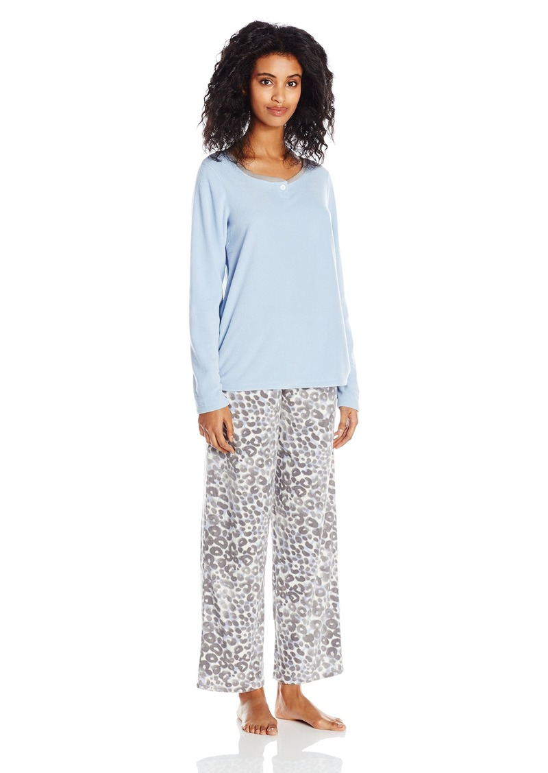 HUE Women's Crystal Leopard Fleece 3 Piece Pajama Set Banded
