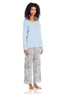 HUE Women's Fleece Pajama Pant and Boxer Set Banded 3 Piece
