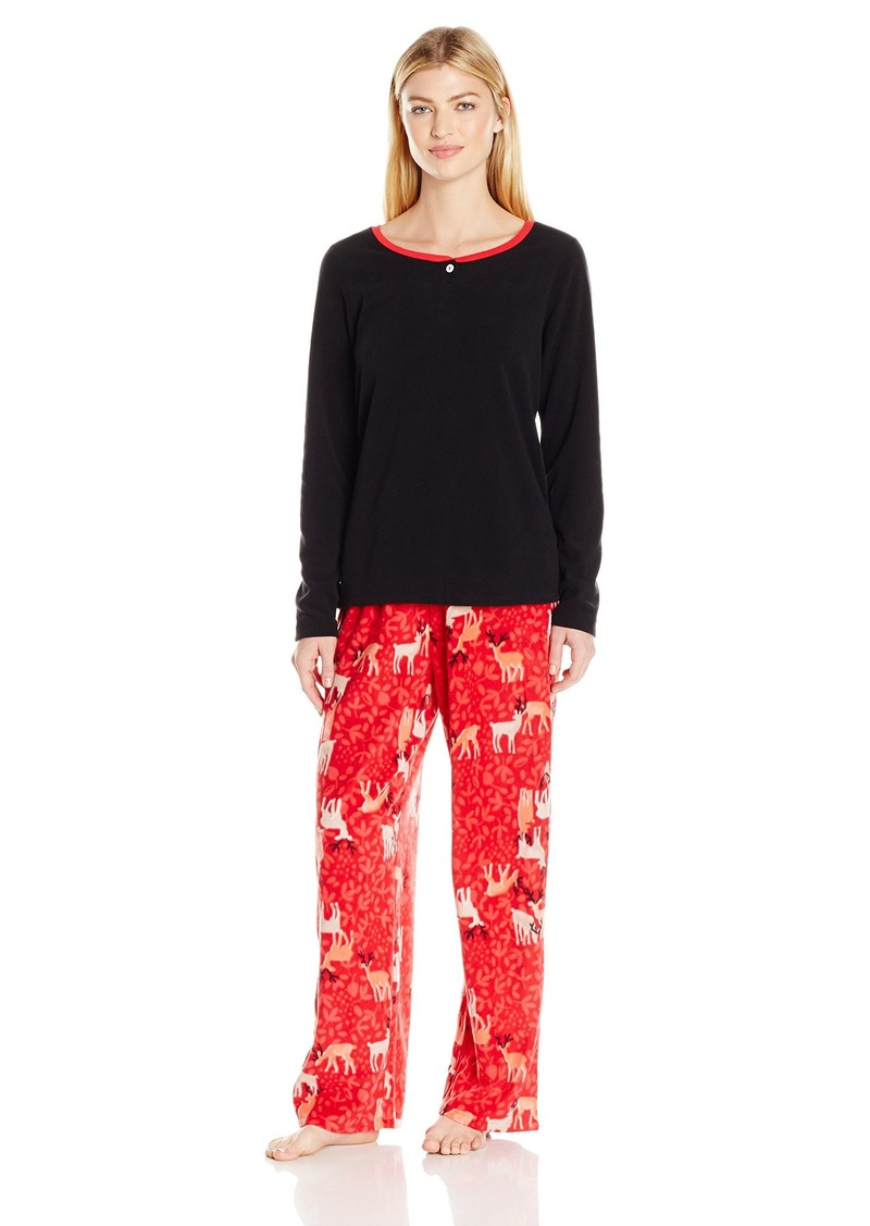 HUE Women's Deer Abby Fleece 3 Piece Pajama Set Banded