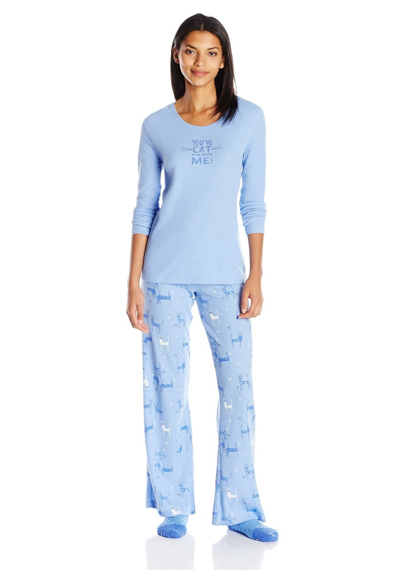 HUE Women's Fanciful Feline 3 Piece Thermal Pajama Set
