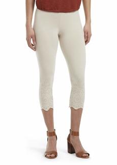 HUE Women's Fashion Cotton Capri Leggings Assorted eyelet Trim/Pumice Stone XS