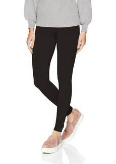 HUE Women's Fashion Cotton Leggings Assorted lace hem/black M