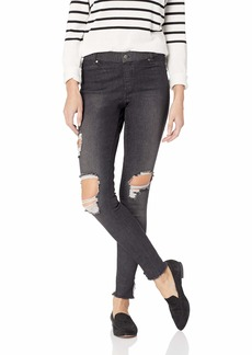 HUE Women's Fashion Denim Leggings Assorted Ripped Ankle Slit-Black Wash S