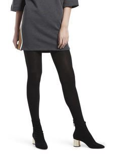 HUE Women's Fashion Sweater Tights with Non Control Top Assorted Flat Knit-Black M/L