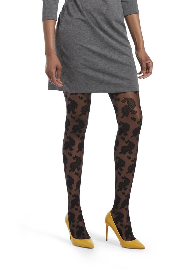 HUE Women's Fashion Tights with Control Top Assorted Sheer Floral Lace-Black M/L