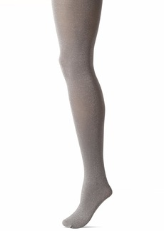 HUE Women's Fashion Tights with Non Control Top Assorted Metallic-Black/Steel S/M
