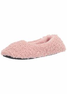 HUE womens Faux Fur Ballerina Shue Slipper Socks Black 9 10 US