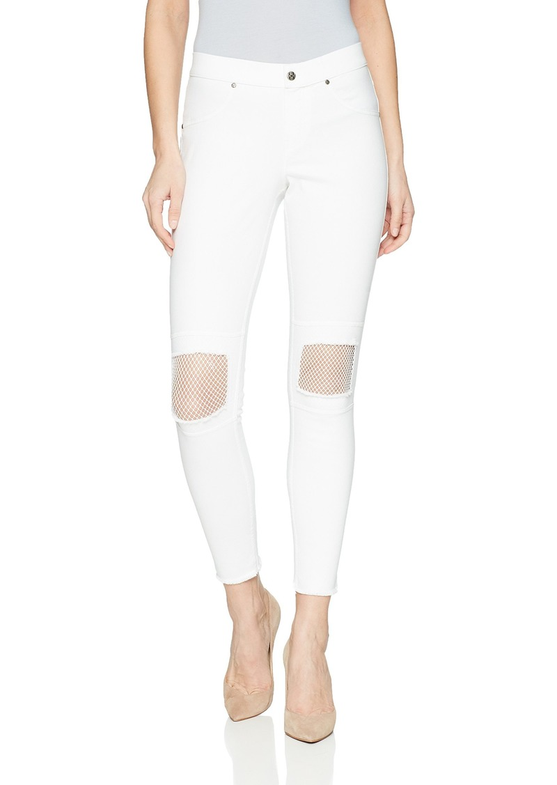 bc71ad1b74c9d3 Hue HUE Women's Fishnet Knee Patch Denim Skimmer Leggings White XL ...