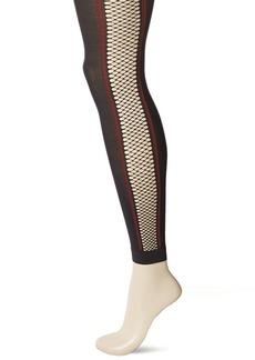 HUE Women's Fishnet Stripe Footless Tights black S/M