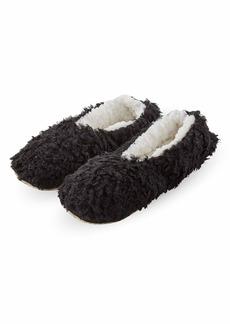 HUE Women's Fluffy Slipper Shue Sock with Grippers black
