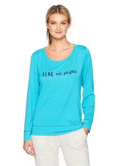 HUE Women's French Terry Graphic Long Sleeve Pajama Tee