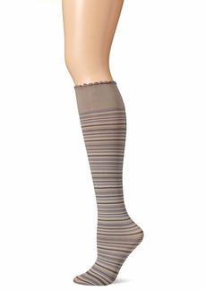 HUE Women's Graduated Compression Opaque Knee Hi Socks