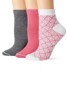 HUE Women's Green Repreve Diamond Knit Quarter Top Socks 3 Pair Pack