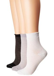 HUE Women's Green Repreve Mesh Roll Top Socks 3 Pair Pack Coin