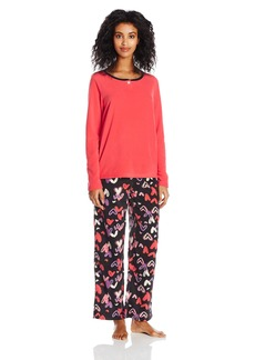 HUE Women's Fleece Pajama Pant and Boxer Set Banded 3 Piece I Heart U