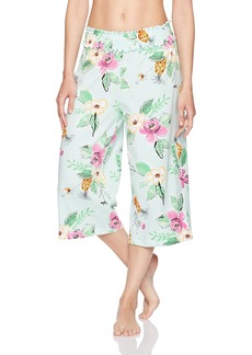 HUE Women's Jungle Floral Smocked Waistband Culotte Pajama Pant