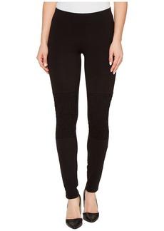 HUE Women's Lace Knee Cotton Leggings  L