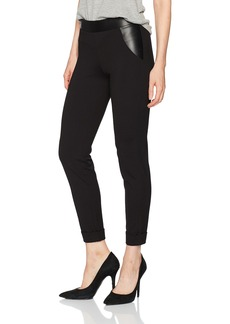 HUE Women's Leatherette Trim Cropped Cuffed Leggings  Extra Small