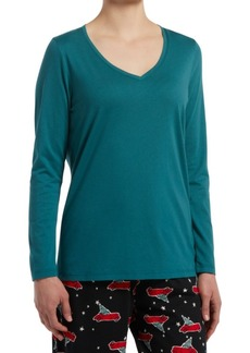 Hue Women's Long-Sleeve Knit Pajama Top