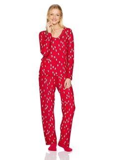 HUE Women's Mini Character Printed Rayon Tee and Pant 3 Piece Pajama Set  Extra Large