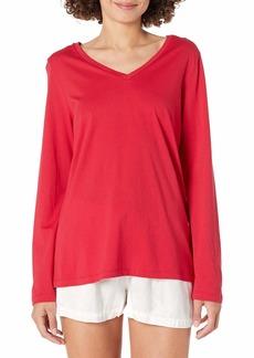 HUE Women's Long Sleeve V-Neck Sleep Tee