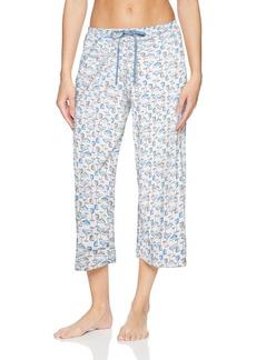 HUE Women's Printed Knit Capri Pajama Sleep Pant White - ICY Margarita