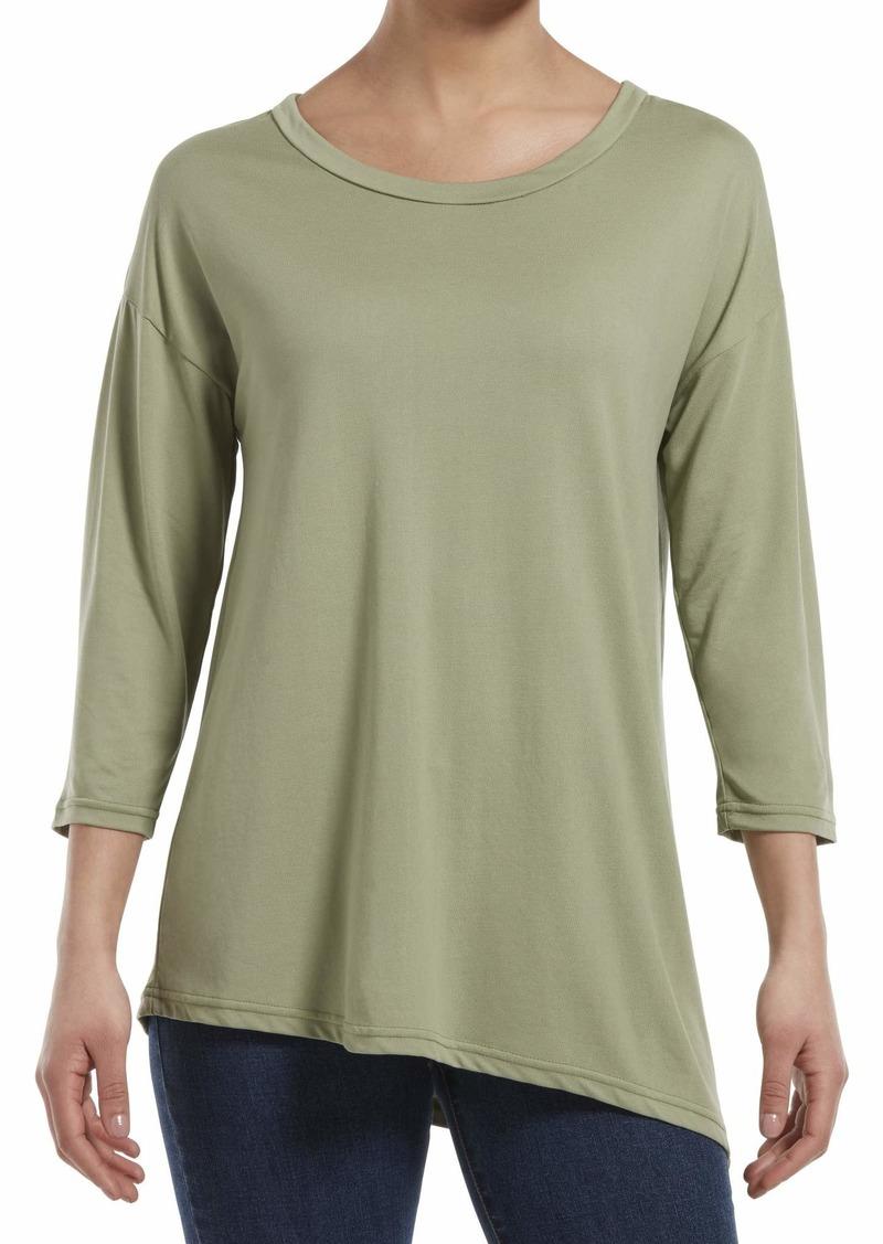 HUE Women's Plus Size 3/4 Sleeve Crew Neck Long Tunic Top