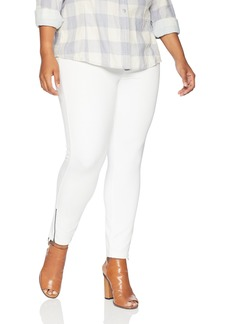 HUE Women's Plus Size Ankle Zip Simply Stretch Twill Skimmer Leggings White