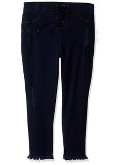 HUE Women's Plus Size High Waist Lace Up Denim Capri Leggings deep Indigo