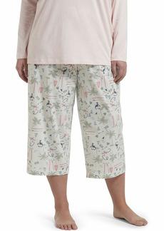 HUE Women's Plus Size Printed Knit Capri Pajama Sleep Pant Aqua Glass-Surfland