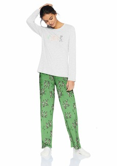 HUE Women's Plus Size Printed Knit Tee and Pant 3 Piece Pajama Set  1X