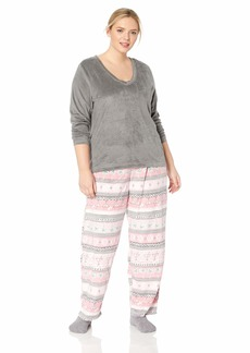 HUE Women's Plus Size Sueded Fleece Long Sleeve Tee and Pant 3 Piece Pajama Set Silver Filigree/fair isle Tropicana 2X