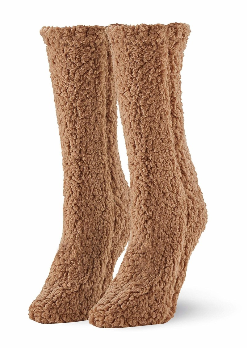 HUE Women's Plush Slipper Sock with Grippers Cashew-Furry