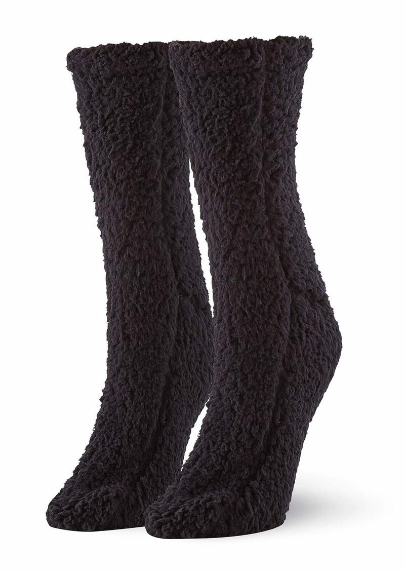 HUE Women's Plush Slipper Sock with Grippers black - Furry