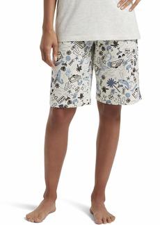 HUE Women's Printed Knit Bermuda Pajama Sleep Short Off White-Beach Travel Extra Large