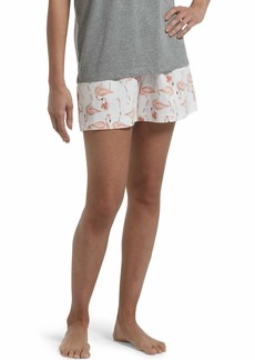 HUE Women's Printed Knit Boxer Pajama Sleep Short White-Flamingo-a-go